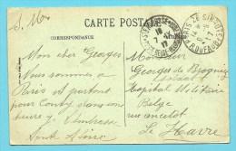 """Kaart Vanuit PARIS Naar """"HOPITAL MILITAIRE BELGE / LE HAVRE"""" Met Stempel STe-ADRESSE / POSTE BELGE Op 7/9/17 - Belgische Armee"""