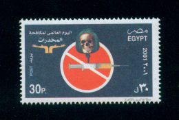 EGYPT / 2001 / MEDICINE / ANTI DRUGS / NARCOTICS / ADDICTION / SYRINGE / POPPY / DRUG ABUSE / SKULL / DEATH / MNH / VF - Nuovi