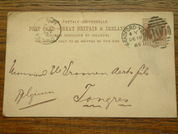 CP / BK - Entre BRADFORD YORK ( Povel ... ) Et Tongres / Anno 1885 ( Zie/voir Foto Voor Details ) !! - Cartes Postales