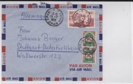 """ALGERIE - 1958 - ENVELOPPE Par AVION De ORAN Avec OBLITERATION POSTE AERIENNE """"ORAN RP AVION"""" Pour STUTTGART - Covers & Documents"""