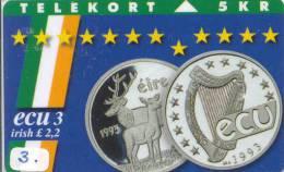 Denmark ECU EIRE * IRELAND  (3) PIECES ET MONNAIES MONNAIE *  COINS MONEY PRIVE 3.000 EX - Irlande