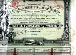 ACTION STE DE L APOLLO ET DES CINEMAS NANTAIS PART DE FONDATEUR 1921 EN L ETAT V.SCAN - Cinéma & Théatre