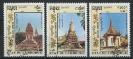 CAMBOGIA 1992 - Architettura - Monumenti - 3 Val. Obliterati Come Da Scansione - Cambodge