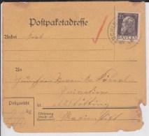 BAYERN - CARTE De COLIS POSTAL DEFECTUEUSE De BÜCHLBERG