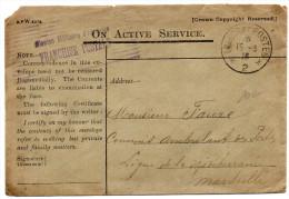 """1916 - ENVELOPPE ANGLAISE FM Avec CACHET """"MISSION MILITAIRE FRANCAISE / FRANCHISE POSTALE"""" - Marcophilie (Lettres)"""