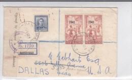 NEW ZEALAND - 1942 - ENVELOPPE RECOMMANDEE De DANNEVIRKE Avec CENSURE Pour DALLAS (TEXAS) - 1907-1947 Dominion
