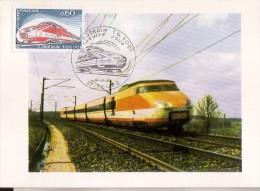 TURBOTRAIN TGV 001: Carte Postale Avec Timbre Et Tampon 1er Jour - Trains