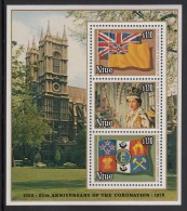 Niue MNH Scott #221d Souvenir Sheet Of 3 Flags, Queen Elizabeth II - 25th Anniversary Of Coronation - Niue