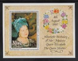 Niue MNH Scott #588 Souvenir Sheet $7 Queen Mother In Blue Hat - 90th Birthday - Niue
