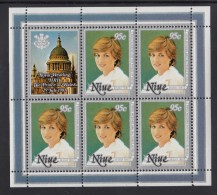 Niue MNH Scott #341 Sheet Of 5 Plus Label 95c Lady Diana - Royal Wedding - Niue