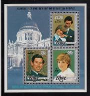 Niue MNH Scott #B55 Souvenir Sheet Of 3 Different Prince Charles And Lady Diana - Royal Wedding - Niue