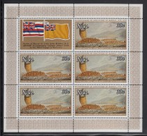 Niue MNH Scott #217 Sheet Of 5 Plus Label 30c Tereoboo Bringing Presents To Captain Cook - 200th Ann Landing In Hawaii - Niue