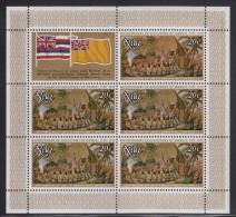 Niue MNH Scott #216 Sheet Of 5 Plus Label 20c An Offering Before Captain Cook - 200th Ann Landing In Hawaii - Niue