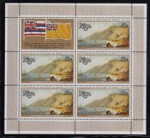 Niue MNH Scott #215 Sheet Of 5 Plus Label 16c A View Of Karakooa In Owyhee - 200th Ann Landing In Hawaii - Niue