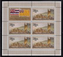 Niue MNH Scott #218 Sheet Of 5 Plus Label 35c Masked Rowers In Boat - 200th Ann Landing In Hawaii - Niue