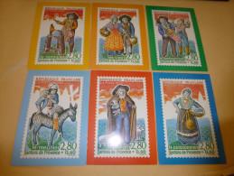 LOT DE 6 CARTES..LES SANTONS DE PROVENCE...REPRESENTATION DE TIMBRES. - Cartoline