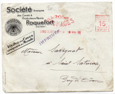 """1933 - ENVELOPPE COMMERCIALE Avec EMA """"LE ROI DES FROMAGES"""" De ROQUEFORT (AVEYRON) - ABEILLE AU DOS - Postmark Collection (Covers)"""