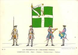 RARE LES REGIMENTS DE L ANCIENNE FRANCE CHAMPAGNE 1730 / MAJOR / DRAPEAU / TAMBOUR MAJOR - Régiments