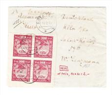 Russland -  Inflations Brief Mit Viererblock 1000r Vorne Und Sechserblock Auf Rückseite - 1917-1923 République & République Soviétique