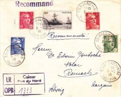 1946 - ENVELOPPE AVEC RECOMMANDE PROVISOIRE De COLMAR Pour REINACH (SUISSE) - GANDON - Marcophilie (Lettres)