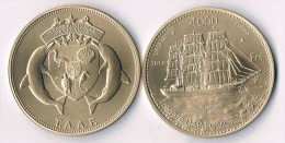 """TAAF  1000 Francs 2014-  Fregate """"DAR POMORZA"""" - Colonies"""