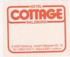 AUSTRIA SALZBURG HOTEL COTTAGE VINTAGE LUGGAGE LABEL - Hotel Labels