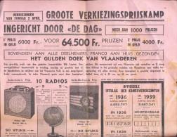 Pub. Reclame Verkiezingsprijskamp De Dag - Antwerpen 1939 - Advertising