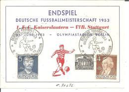 BLN230 / / Dt. Fussballmeisterschaft 1953 Berlin. Endspiel-Sonderkarte Mit Stempel, Postalisch Gelaufen - Covers & Documents