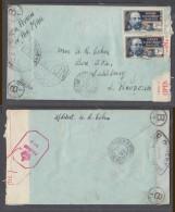 1943 Air Mail Cover POINT NOIRE  To Salisbury S. Rhodesia, French Censor, Rare Rhodesia Censor Label  Type 111G - Brieven En Documenten