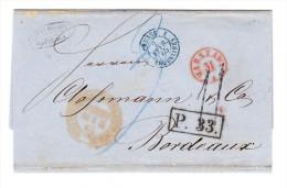 POLEN 1865 Vorphila-Faltbrief Von Warschau Nach Bordeaux - Transit Stempel, P.33: In Kästchen Usw. - Pologne