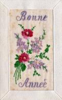 Seidenbestickte Glückwunschkarte - Karte Um 190? - Bestickt