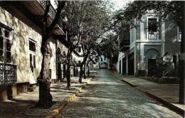 PUERTO RICO- SAN JUAN:  POSTCARD TYPICAL STREET SCENE IN SAN JUAN, PUERTO RICO. ESCENA COTIDIANA DE LA CIUDAD. GECKO. - Postkaarten