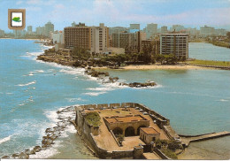 PUERTO RICO- SAN JERONIMO:  POSTAL DEL CONDADO DE PUERTO RICO VISTO A TRAVES DEL FUERTE SAN JERONIMO.  GECKO. - Postkaarten