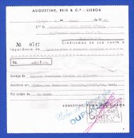 BANQUE - AUGUSTINE, REIS & Cª. - LISBOA -- CRÉDITO EM CONTA - 2.JUN.1960 - Cheques & Traverler's Cheques