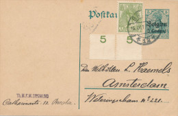 136/22 - Entier Germania Belgien + TP Wilhelmina BREDA 1917 Vers AMSTERDAM - Lettres & Documents