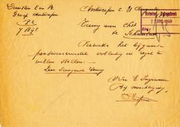 198/22 - Document Des Chemins De Fer Belges ANTWERPEN 1940 Vers SCHAERBEEK - Cachet Allemend Bahnhof Schaerbeek - Zonder Classificatie