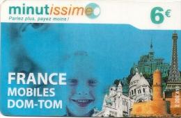CARTE PREPAYEE-MINUTISSIME--6€- NEUF TELECOM-ENFANTS-MONUMENTS -Sans Date-V° N°Code Sur  Fond Gris-TBE - Autres Prépayées
