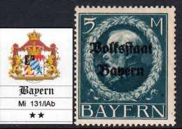 GERMANY - BAYERN - Mi 131/IAb - Kat 120 Euro  - LUXUS POSTFRISCH - MNH** - Gomma Integra - Beieren