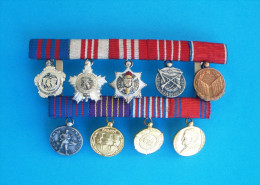 YUGOSLAVIA - CLUSTER OF 9. MINIATURES ( Miniature Of Order Or Medal ) * JNA Army * Jugoslawien Yoiugoslavie Jugoslavia - Medals