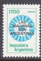 ARGENTINA, 1982  1700p MALVINAS O/PRINT MNH - Argentina