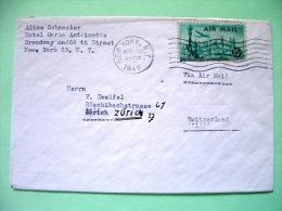 USA 1949 Cover New York To Switzerland - Plane Over Statue Of Liberty - Brieven En Documenten