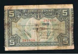BILLETE ESPAÑA -  5  Pesetas  1937 Banco De  BILBAO - Espagne