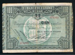 100  Pesetas 1937 Banco De BILBAO - Sin Clasificación