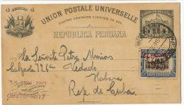 Entero Postal Circulado 1915 Entier Postal A Cuba - Pérou