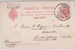 ESPAGNE - 1921 - CARTE ENTIER POSTAL De BARCELONA Pour LUDWIGSBURG
