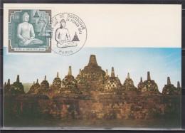 = Carte Postale Temple De Borobudur à Java 1er Jour Paris 24 02 1979 N°2036 Le Temple Et Bouddha, Indonésie - Monuments