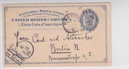 USA - 1888 - CARTE ENTIER POSTAL De NEW YORK Pour BERLIN