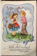 Litho Illustrateur Art Nouveau Couple Enfants Voeux Fete Des Meres Marguerite M.D. SERIE 4700 - Fête Des Mères