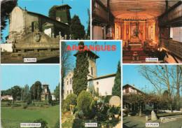 Cpsm ARCANGUES, Multivues, Vue Générale, église, La Place  (11.58) - Autres Communes