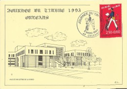 FRANCE 1993 – CARTE MAXIMUM – JOURNEE DU TIMBRE- ORLEANS FACULTE DES LETTRES DE LA SOURCE AVEC 1 TIMB DE 2,50+0,60 FR OB - Día Del Sello